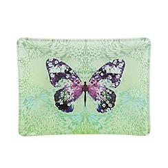 Butterfly Home by Matthew Williamson - Designer green glass butterfly print trinket tray