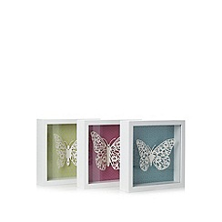 Butterfly Home by Matthew Williamson - Designer pack of three white butterfly wall art