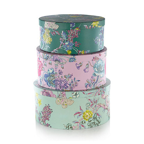 Butterfly Home by Matthew Williamson - Designer set of three green floral storage boxes