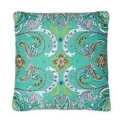 Butterfly Home by Matthew Williamson - Designer green floral beaded cushion
