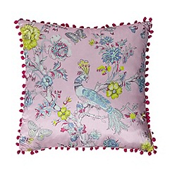 Butterfly Home by Matthew Williamson - Designer pink floral peacock cushion