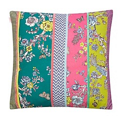 Butterfly Home by Matthew Williamson - Designer bright pink peacock patchwork cushion