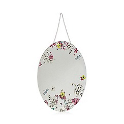Butterfly Home by Matthew Williamson - Designer pink blossom hanging oval mirror