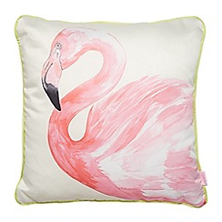 Butterfly Home by Matthew Williamson - Designer pink watercolour flamingo cushion