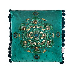 Butterfly Home by Matthew Williamson - Designer green beaded pom pom cushion