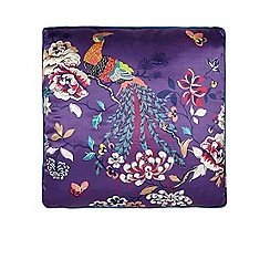 Butterfly Home by Matthew Williamson - Designer purple 'bird of paradise' print silk blend cushion