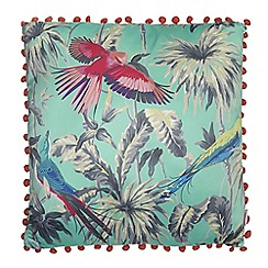 Butterfly Home by Matthew Williamson - Turquoise bird print cushion