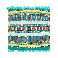 Butterfly Home by Matthew Williamson - Turquoise embellished striped cushion