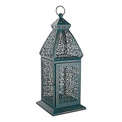 Butterfly Home by Matthew Williamson - Teal cut-out metal lantern