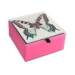 Butterfly Home by Matthew Williamson - Pink glass butterfly print jewellery box