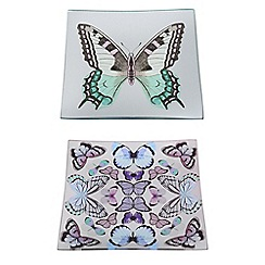 Butterfly Home by Matthew Williamson - Pack of 2 glass butterfly print trinket trays