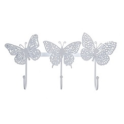 Butterfly Home by Matthew Williamson - White 3 butterflies shaped wall hook