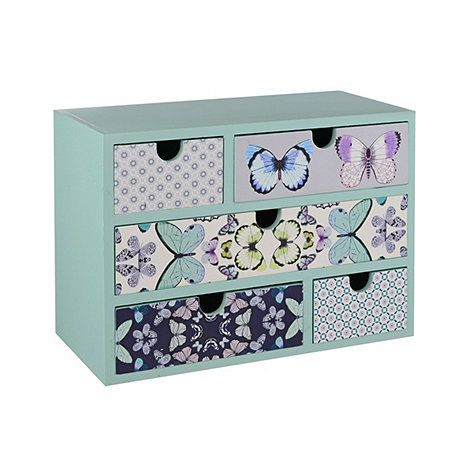 Butterfly Home by Matthew Williamson - Teal floral and butterfly print 5 drawer unit