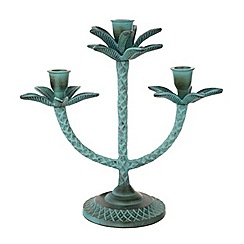 Butterfly Home by Matthew Williamson - Teal metal palm tree candelabra