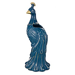 Butterfly Home by Matthew Williamson - Blue ceramic peacock shape vase