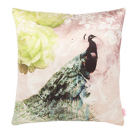 Butterfly Home by Matthew Williamson - Cream peacock printed satin cushion