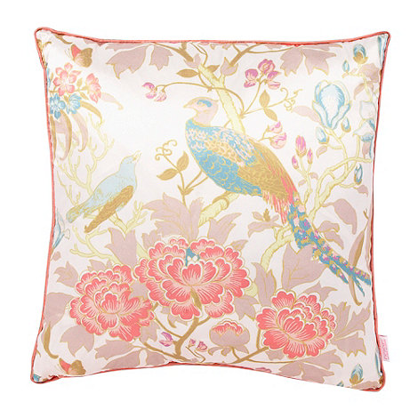 Butterfly Home by Matthew Williamson - Pink peacock printed satin cushion