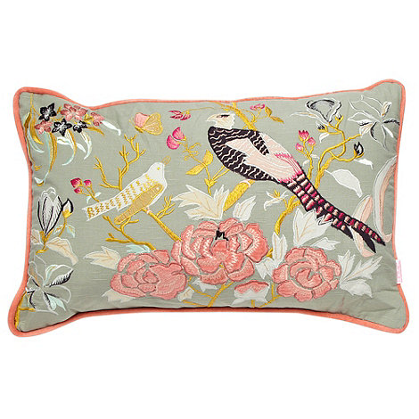 Butterfly Home by Matthew Williamson - Light green peacock appliqued cushion