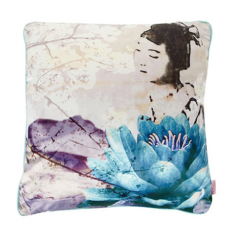 Butterfly Home by Matthew Williamson - Designer blue lotus flower girl cushion