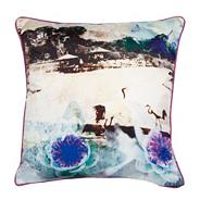 Designer aqua bird cushion