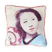 Designer coral geisha girl cushion