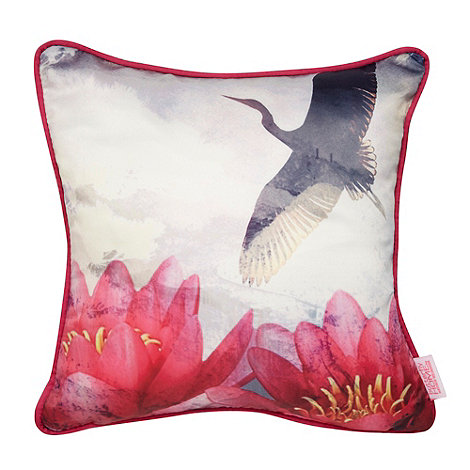 Butterfly Home by Matthew Williamson - Designer pink crane motif cushion