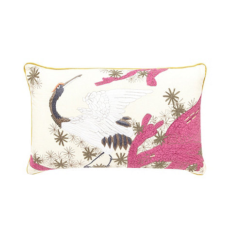 Butterfly Home by Matthew Williamson - Designer purple embroidered crane cushion