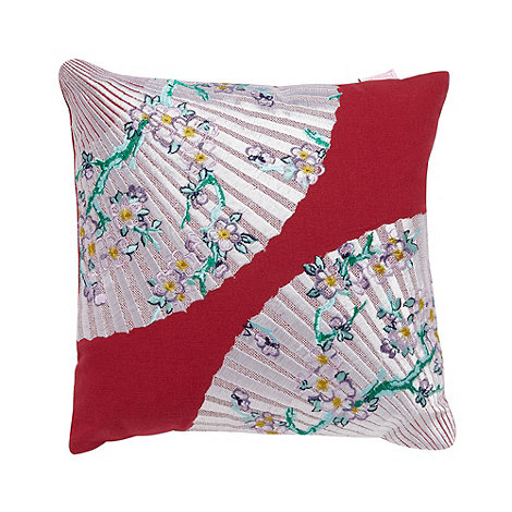 Butterfly Home by Matthew Williamson - Designer pink embroidered fans cushion