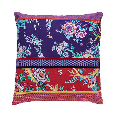 Butterfly Home by Matthew Williamson - Designer purple patchwork cushion