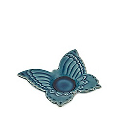 Butterfly Home by Matthew Williamson - Blue ceramic butterfly tea light holder