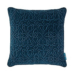 Butterfly Home by Matthew Williamson - Dark turquoise velvet cushion