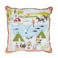 Blue camping scene cushion