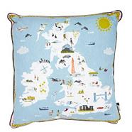 Blue 'British Isles' cushion