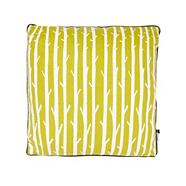 Green branch striped canvas cushion