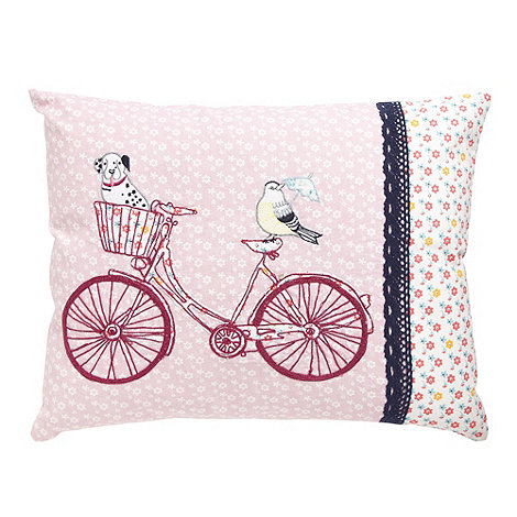 At home with Ashley Thomas - Pink bicycle embroidered canvas cushion