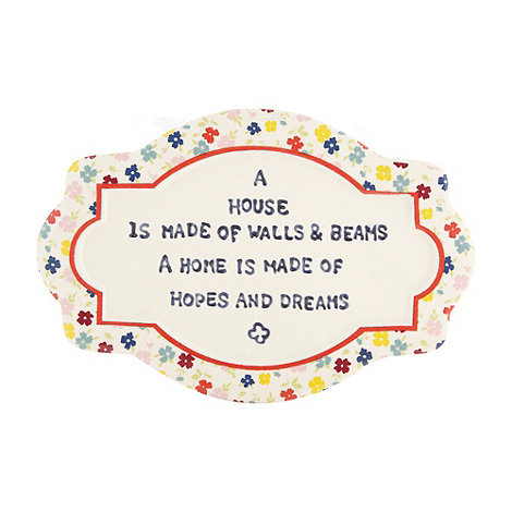 At home with Ashley Thomas - Ceramic +Hopes and Dreams+ sign