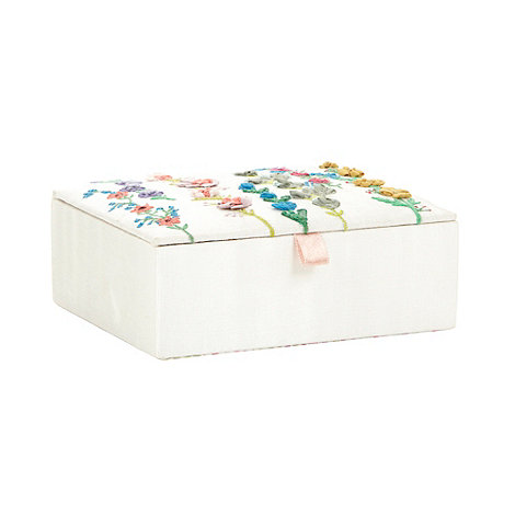 At home with Ashley Thomas - Cream embroidered flower trinket box