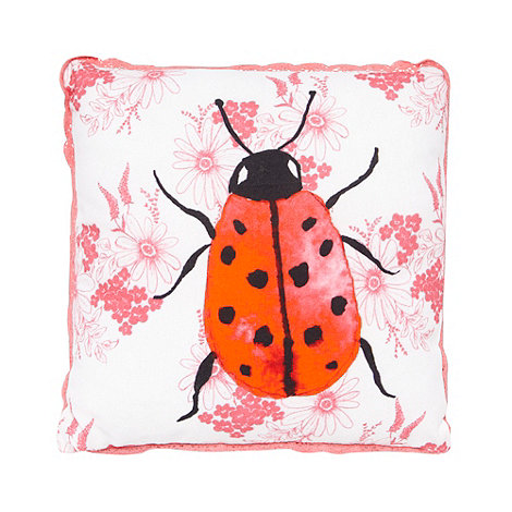 At home with Ashley Thomas - Red lady bird cushion