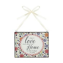 At home with Ashley Thomas - Glass 'What I Love' hanging sign
