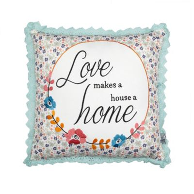 At home with Ashley Thomas Aqua lace border ´Love´ slogan - . -