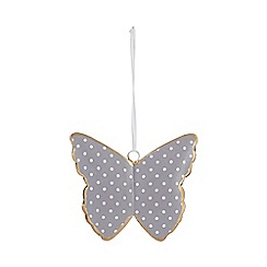 At home with Ashley Thomas - Lilac metal polka dot butterfly hanging ornament