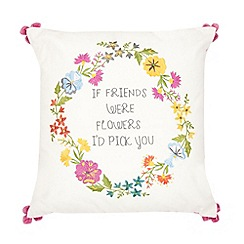 Ashley Thomas at Home - Pink flowers & slogan cushion