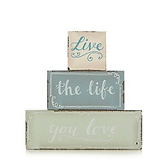 At home with Ashley Thomas - Aqua 'live the life you love' decorative blocks