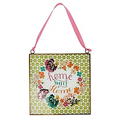 At home with Ashley Thomas - 'Home Sweet Home' glass hanging sign
