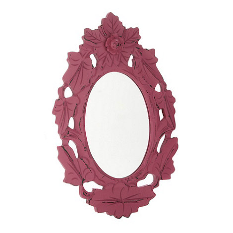 Debenhams - Wood pink oval mirror