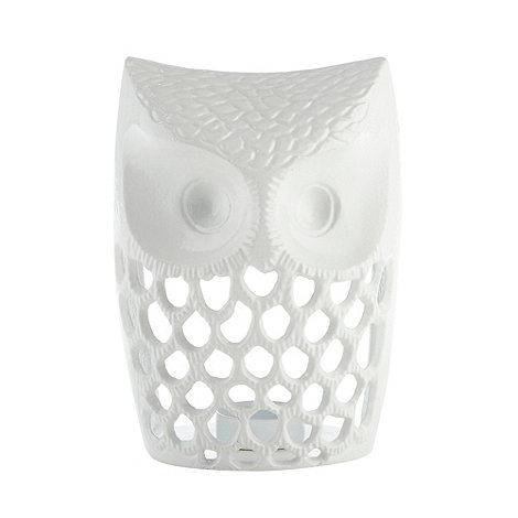 Debenhams - White metal owl tea light holder