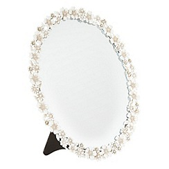 Debenhams - Cream floral oval mirror
