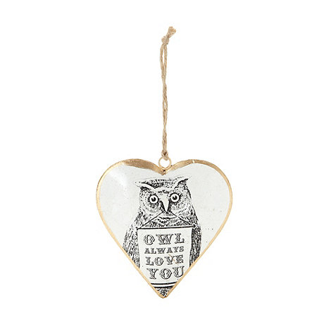 Sass & Belle - Grey metal +Owl Always Love You+ hanging heart