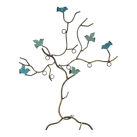 Sass & Belle - Blue bird wire jewellery holder