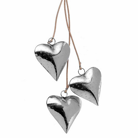 Parlane - Set of three silver hanging heart ornaments